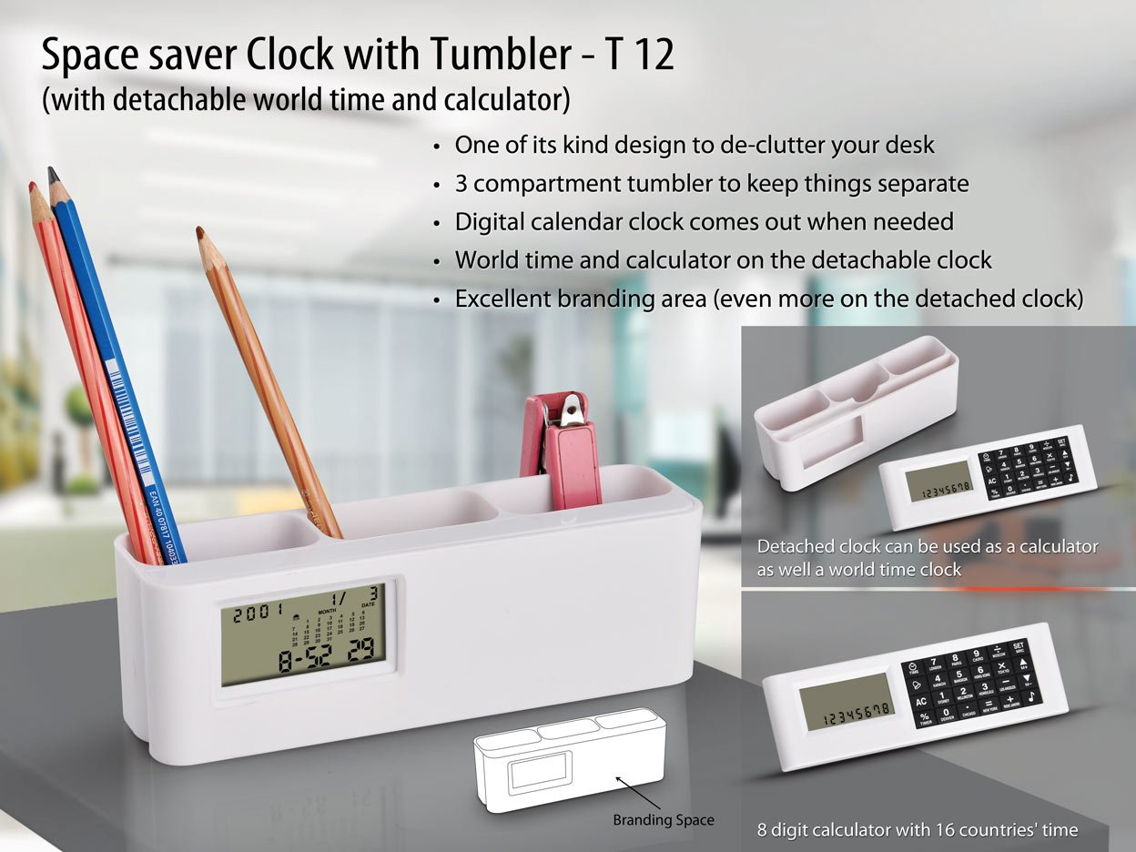 space saver clock with tumbler with detachable world time
